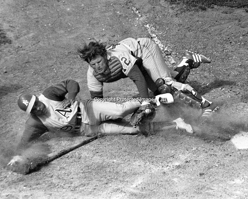 Oakland Athletics Campy Campaneris is tagged out at home by Chicago catcher. (photo 4/7/71 by Ron Riesterer)