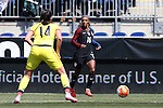 10 April 2016: Crystal Dunn (USA) (16) and Nataly Arias (COL) (14). The United States Women's National Team played the Colombia Women's National Team at Talen Energy Stadium in Chester, Pennsylvania in an women's international friendly soccer game. The U.S. won the match 3-0.