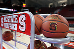 29 December 2016: NC State practice balls. The North Carolina State University Wolfpack hosted the University of Notre Dame Fighting Irish at Reynolds Coliseum in Raleigh, North Carolina in a 2016-17 NCAA Division I Women's Basketball game. NC State won the game 70-62.