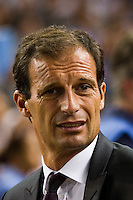 A. C. Milan manager Massimiliano Allegri. Real Madrid defeated A. C. Milan 5-1 during a 2012 Herbalife World Football Challenge match at Yankee Stadium in New York, NY, on August 8, 2012.
