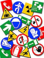 Cartelli  che descrivono i corretti comportamenti da tenersi sul posto di lavoro..Signs that describe the correct behavior to be held in the workplace