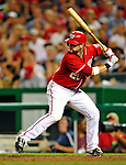 28 August 2010: Washington Nationals infielder Adam Kennedy in action against the St. Louis Cardinals at Nationals Park in Washington, DC. The Nationals defeated the Cards 14-5 to take the third game of their 4-game series. Mandatory Credit: Ed Wolfstein Photo