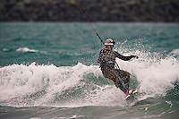 The southerly kicked in nicely for a Easter Sunday kiteboarding session at Lyall Bay, Wellington, New Zealand