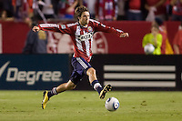 CD Chivas USA midfielder Blair Gavin (18) runs through the middle of the field. The Philadelphia Union and CD Chivas USA played to 1-1 draw at Home Depot Center stadium in Carson, California on Saturday evening July 3, 2010..