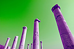 Israel, Bet Shean ancient columns found on the site, colour manipulated, During the Hellenistic period Bet Shean had a Greek population and was called Scythopolis. In 64 BCE it was taken by the Romans, rebuilt, and made the capital of the Decapolis, the &quot;Ten Cities&quot; of Samaria that were centers of Greco-Roman culture. The city contains the best preserved Roman theater of ancient Samaria as well as a hippodrome, cardo, and other trademarks of the Roman influence. Excavations at the cite are ongoing at the site and reveal no less than 18 successive ancient towns