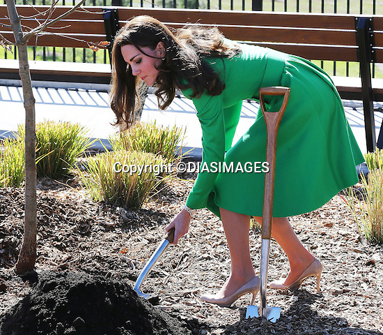 &quot;NO UK USAGE UNTIL 22nd May 2014(28 Days)&quot;<br /> <br /> 24.04.2014; Canberra: KATE AND PRINCE WILLIAM <br /> visit the National Arboretum on the site of the bushfire of 2003. <br /> During the visit Prince William and Catherine planted an oak Tree and met children in a play park.<br /> Mandatory Photo Credit: &copy;DIASIMAGES<br /> <br /> **ALL FEES PAYABLE TO: &quot;NEWSPIX INTERNATIONAL**<br /> <br /> IMMEDIATE CONFIRMATION OF USAGE REQUIRED:<br /> DiasImages, 31 Chinnery Hill, Bishop's Stortford, ENGLAND CM23 3PS<br /> Tel:+441279 324672  ; Fax: +441279656877<br /> Mobile:  0777568 1153