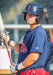 24 August 2016: Lowell Spinners outfielder Chris Madera awaits his turn in the batting cage prior to a game against the Vermont Lake Monsters at Centennial Field in Burlington, Vermont. The Lake Monsters defeated the Spinners 5-3 in NY Penn League action. Mandatory Credit: Ed Wolfstein Photo *** RAW (NEF) Image File Available ***