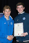 St Johnstone FC Youth Academy Presentation Night at Perth Concert Hall..21.04.14<br /> David Wotherspoon presents to Daniel Cochrane<br /> Picture by Graeme Hart.<br /> Copyright Perthshire Picture Agency<br /> Tel: 01738 623350  Mobile: 07990 594431