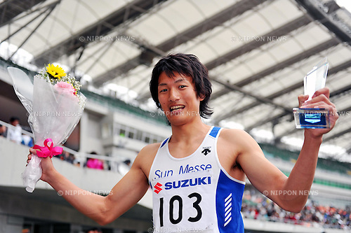 Hitoshi Saito (JPN),MAY 3, 2011 - Athletics : The 27th Shizuoka International Athletics 2011 Japan Grand Prix Series Circuit Athletics Rd.4, during Men's 200m at Ecopa Stadium, Shizuoka, Japan. (Photo by Jun Tsukida/AFLO SPORT) [0003]