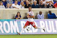 Fabian Espindola (9) of the New York Red Bulls. The New York Red Bulls and the Philadelphia Union played to a 0-0 tie during a Major League Soccer (MLS) match at Red Bull Arena in Harrison, NJ, on August 17, 2013.