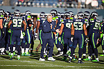 Seattle Seahawks head coach Pete Carroll oversees warmups before their game agains Arizona Cardinals at CenturyLink Field in Seattle, Washington on November 23, 2014. The Seahawks beat the Cardinals 19-3.   ©2014. Jim Bryant Photo. All Rights Reserved.