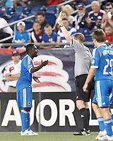 Philadelphia Union forward Freddy Adu (11) collects yellow card. In a Major League Soccer (MLS) match, the New England Revolution tied Philadelphia Union, 0-0, at Gillette Stadium on September 1, 2012.