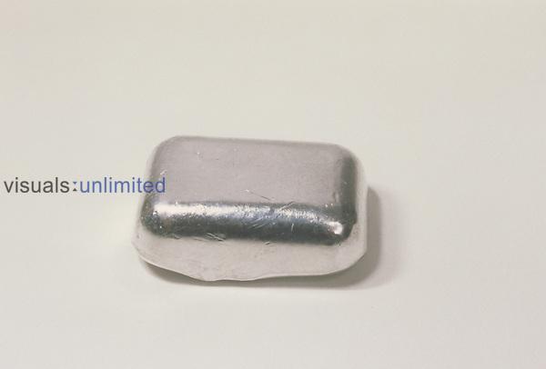 Indium (In) metal ingot.