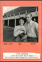 BNPS.co.uk (01202 558833)<br /> Pic: DominicWinter/BNPS<br /> <br /> Steve McQueen with his then wife Noel Adams.<br /> <br /> A remarkable set of 430 candid photographs of Hollywood royalty have been unearthed after 50 years.<br /> <br /> Included in the collection of unpublished pictures are snaps of silver screen icons Paul Newman, Charlie Chaplin, Bette Davis, Audrey Hepburn, and Dean Martin.<br /> <br /> Paul Newman is captured looking over his shoulder at the wheel of his car and Charlie Chaplin is pictured without his trademark moustache. <br /> <br /> Audrey Hepburn has posed with her then husband actor Mel Ferrer while Bette Davis can be seen puffing on a cigarette.<br /> <br /> The snaps were taken by obsessive amateur photographer Dwight 'Dodo' Romero from 1954 to 1967 who would hang around at Hollywood parking lots and other hang-outs to catch a glimpse of the stars.<br /> <br /> The photos, which more recently belonged to a book dealership in York, have emerged for auction and are tipped to sell for &pound;800.