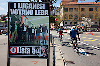 "Switzerland. Canton Ticino. Lugano. Election day. Election poster of the "" Lega dei Ticinesi"". Portrait of Giuliano Bignasca (born 10 avril 1945 - dead 7 march 2013) who was the founder and President for Life of "" Lega dei Ticinesi"". The building in the back is the town hall. The Lega dei Ticinesi (League of Ticino) emerged triumphant from municipal elections in Lugano with three of its candidates winning election to the seven-person administrative council. 14.04.13. © 2013 Didier Ruef?"