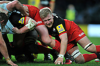 Jackson Wray of Saracens in action at a scrum. Aviva Premiership match, between Saracens and Worcester Warriors on November 28, 2015 at Twickenham Stadium in London, England. Photo by: Patrick Khachfe / JMP