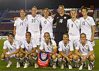 USA team starting eleven at the 2010 CONCACAF Women's World Cup Qualifying tournament held at Estadio Quintana Roo in Cancun, Mexico.