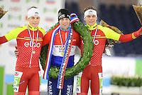 SCHAATSEN: HEERENVEEN: 01-01-2017, NK Marathonschaatsen, Remco Schouten, Bob de Vries, Robert Post, ©foto Martin de Jong