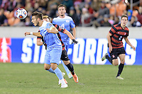 Houston, TX - Friday December 9, 2016: Colton Storm (6) of the North Carolina Tar Heels heads the ball towards the Stanford Cardinal goal at the NCAA Men's Soccer Semifinals at BBVA Compass Stadium in Houston Texas.