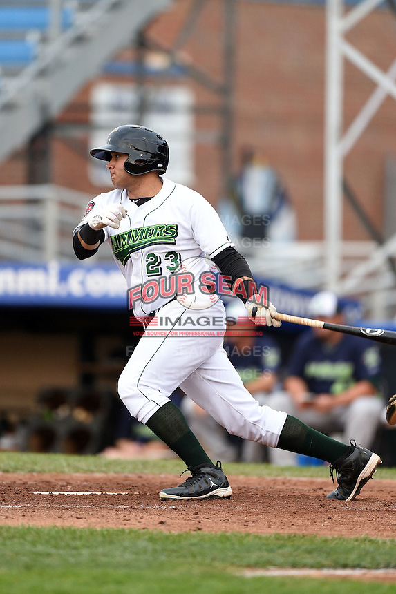 Jamestown Jammers first baseman Kevin Ross (23) at bat during a game against the Vermont Lake Monsters on July 12, 2014 at Russell Diethrick Park in Jamestown, New York.  Jamestown defeated Vermont 3-2.  (Mike Janes/Four Seam Images)