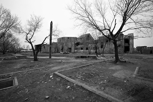 The Soviet Cultural Center in Kabul, Afghanistan was abandoned when Russian troops left in 1989, and was almost completely destroyed when rival mujahideen groups battled for control of the city during the 1992-1994 civil war. The gutted ruin now serves as a rendezvous point for many of Kabul's opium and heroin addicts. Feb. 2, 2009.