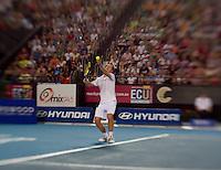 RICHARD GASQUET (FRA) against LLEYTON HEWITT (AUS) in the group match at the Hopman Cup. France beat Australia 6-2 5-7 6-1..03/01/2012, 3rd January 2012, 03.01.2012..The HOPMAN CUP, Burswood Dome, Perth, Western Australia, Australia.@AMN IMAGES, Frey, Advantage Media Network, 30, Cleveland Street, London, W1T 4JD .Tel - +44 208 947 0100..email - mfrey@advantagemedianet.com..www.amnimages.photoshelter.com.