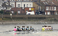 Chiswick, London. ENGLAND, 09.03.2006, Eton [No.1] and Shrewsbury [No.2]  racing along Corney Reach.  Schools Head of the River Race Chiswick Bridge to Putney  on Thursday 9th March    © Peter Spurrier/Intersport-images.com.. Schools Head of the River Race. Rowing Course: River Thames, Championship course, Putney to Mortlake 4.25 Miles