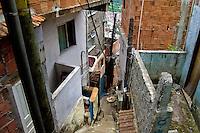 A narrow steep backstreet in Rocinha, the largest slum in Rio de Janeiro, 28 February 2004.