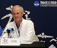 Coach Pat Henry at the 2011 NCAA Indoor Track & Field Championships Press Conference on Thursday, March 10, 2011. Photo by Errol Anderson.