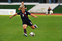 USA's Lori Lindsey kicks vs. Iceland.  The USWNT defeated Iceland (2-0) at Vila Real Sto. Antonio in their opener of the 2010 Algarve Cup on February 24, 2010.
