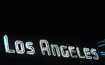 Neon sign on Los Angeles Theater on Braodway in downtown LosAngeles