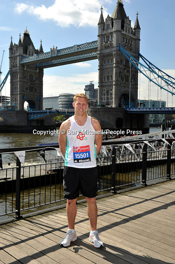 Lewis Moody poses for a photo during the Virgin Money London Marathon on April 9, 2014 in London, England