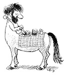 (A centaur uses his back as a table to rest his dinner on)