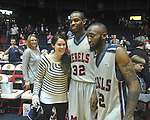 "Senior Ole Miss guard Chris Warren (12) and Ole Miss guard Zach Graham (32)  with fans on Senior Day at C.M. ""Tad"" Smith in Oxford, Miss. on Saturday, March 5, 2010. Ole Miss won 84-74."