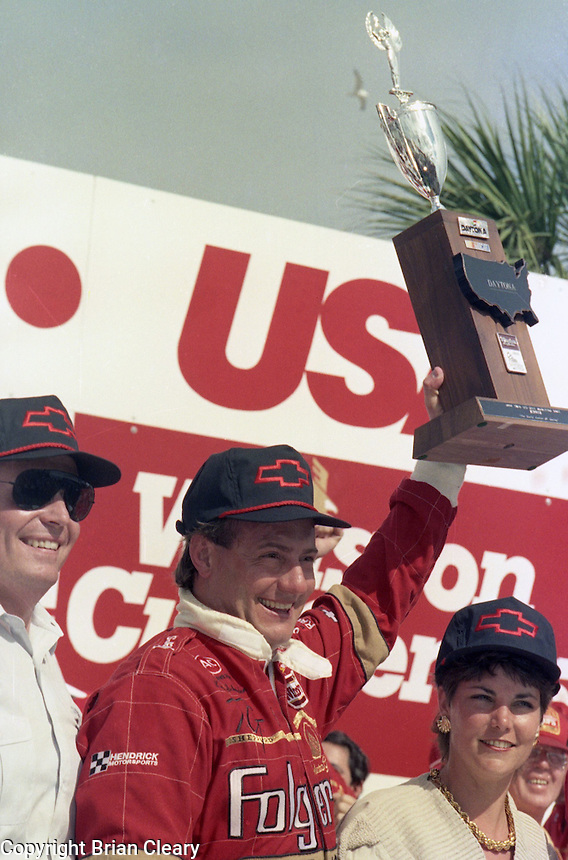 Ken Schrader Rick Hendrick Ann Schrader victory lane 125 mile qualifying race for Daytona 500 at Daytona International Speedway on February 19, 1989.  (Photo by Brian Cleary/www.bcpix.xom)
