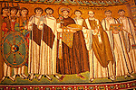 Mosaic panel in the Basilica of San Vitale in Ravenna, Italy  of the East Roman Emperor Justinian I standing with court officials, guards, and deacons; this moasic panel was made in 548.