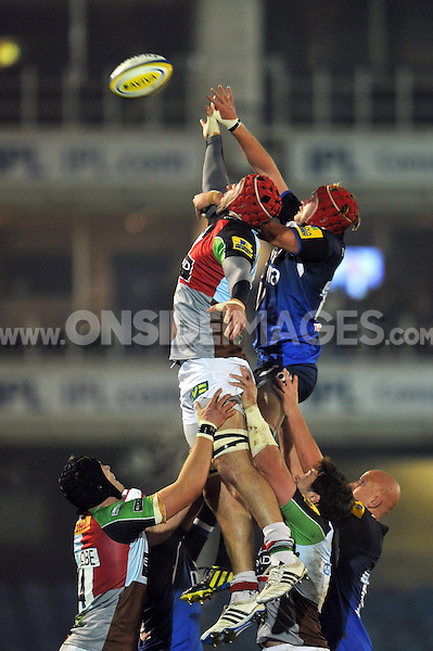 Lineout forwards compete for the ball. Aviva A-League match, between Bath United and Harlequins A on November 5, 2012 at the Recreation Ground in Bath, England. Photo by: Patrick Khachfe / Onside Images