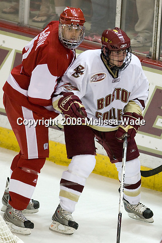 Jamie McBain (Wisconsin - 2), Ben Smith (Boston College - 12) - The Boston College Eagles defeated the University of Wisconsin Badgers 5-4 on Friday, October 10, 2008 after raising their 2008 National Championship banner at Kelley Rink in Conte Forum in Chestnut Hill, Massachusetts.