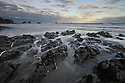 Rocky coastline near Twelve Mile Bluff north of Greymouth, New Zealand, South Island
