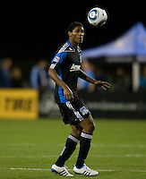 Khari Stephenson of Earthquakes in action during the game against the Sounders at Buck Shaw Stadium in Santa Clara, California on April 2nd, 2011.   San Jose Earthquakes and Seattle Sounders are tied 2-2.