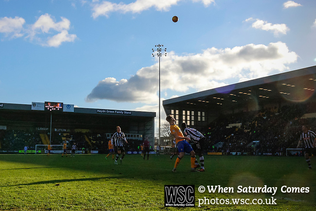 Notts County 0 Mansfield Town 0, 14/01/2017. Meadow Lane, League Two. Notts County clear a Mansfield attack. Photo by Paul Thompson.