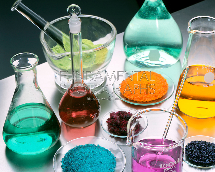 LABGLASS CONTAINING TRANSITION METAL COMPOUNDS<br /> Solids &amp; Solutions in Mortar, Flasks &amp; Watchglass (Variations Available)<br /> Pale green Nickel Chloride in mortar &amp; flask; blue-green Nickel Sulfate in flask &amp; watchglass; crimson Cobalt Chloride in watchglass &amp; flask; orange Sodium Dichromate in watchglass &amp; flask; purple Potassium Permanganate in beaker &amp; watchglass.