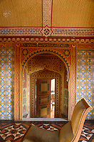 The interior of the Villa Medici is a fusion of pattern, from floor and wall tiles to painted murals