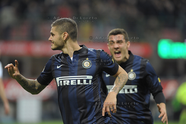 Mauro Icardi (Inter9 after the second goal during the Serie Amatch between Inter vs Bologna, on April 05, 2014. Photo: Adamo Di Loreto/BuenaVista*photo