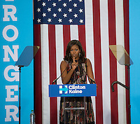 Fairfax, VA September 16, 2016, USA:  First Lady Michelle Obama appears  at a rally on the campus of George Mason University in Fairfax, VA.  Patsy Lynch/MediaPunch