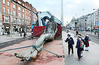 16/12/2010. Sculptor Eamon O Doherty work the Anna Livia (Floozie in the Jacuzzi) is pictured on a truck in O'Connell Street Dublin before she goes to her new home in the park opposite the Aisling Hotel Dublin.James Horan/Collins Photos