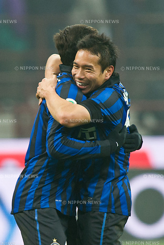 "(L-R) Javier Zanetti, Yuto Nagatomo (Inter), JANUARY 15, 2012 - Football / Soccer : Yuto Nagatomo of Inter celebrates after winning Italian ""Serie A"" match between AC Milan 0-1 Inter Milan at Stadio Giuseppe Meazza in Milan, Italy. (Photo by Enrico Calderoni/AFLO SPORT) [0391]"