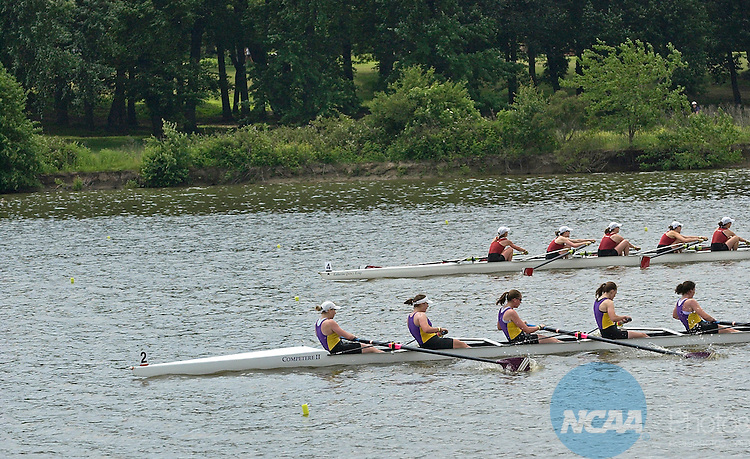 30 MAY 2009:  Williams College leads Bates College to the finish as Williams wins the Division III Eights race during the NCAA Division III Rowing Championships held at the Cooper River in Camden, NJ.  Eric Hartline/NCAA Photos