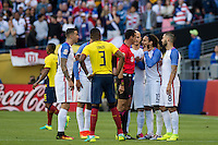Seattle, WA - Thursday, June 16, 2016: United States midfielder Jermaine Jones (13) confronts the referee during the Quarterfinal of the 2016 Copa America Centenrio at CenturyLink Field.