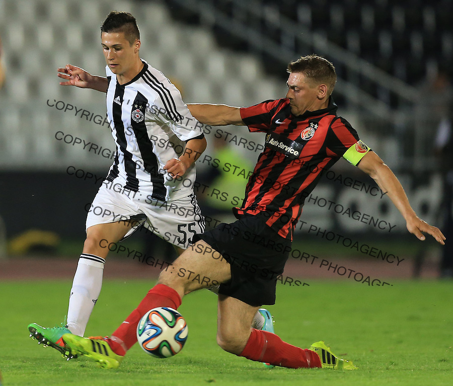 Fudbal Football Soccer<br /> UEFA Champions league-2nd qualifying round<br /> Partizan v HB Torshavn (Faroe Islands)<br /> Danilo Pantic (L)<br /> Beograd, 07.15.2014.<br /> foto: Srdjan Stevanovic/Starsportphoto &copy;